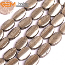 """G15934 10x16mm Oval Twist Natural Silver Pyrite Stone Beads 15"""" Natural Stone Beads for Jewelry Making Wholesale"""