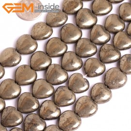 """G15939 14mm Heart Natural Silver Pyrite Stone Beads 15"""" Natural Stone Beads for Jewelry Making Wholesale"""