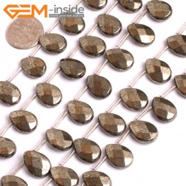 "G15946 10x14mm Flat  Faceted Drop Natural Silver Pyrite Stone Beads 15"" (26 Pcs ) Natural Stone Beads for Jewelry Making Wholesale"