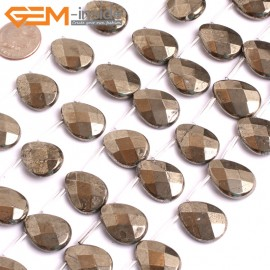 "G15947 13x18mm Flat  Faceted Drop Natural Silver Pyrite Stone Beads 15"" (20 Pcs ) Natural Stone Beads for Jewelry Making Wholesale"