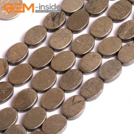 """G15951 10x14mm Oval Flat Natural Silver Pyrite Stone Beads 15"""" Natural Stone Beads for Jewelry Making Wholesale"""