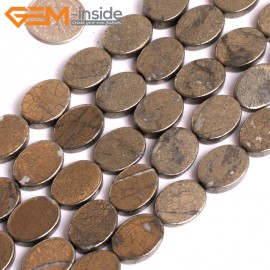 "G15952 12x16mm Oval Flat Natural Silver Pyrite Stone Beads 15"" Natural Stone Beads for Jewelry Making Wholesale"