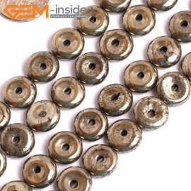 "G15954 10mm Dount Rings Natural Silver Pyrite Stone Beads 15"" Natural Stone Beads for Jewelry Making Wholesale"