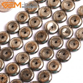 "G15955 12mm Dount Rings Natural Silver Pyrite Stone Beads 15"" Natural Stone Beads for Jewelry Making Wholesale"