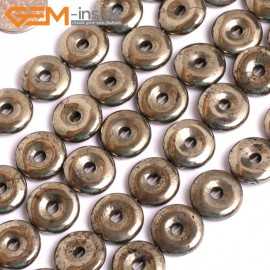 "G15956 14mm Dount Rings Natural Silver Pyrite Stone Beads 15"" Natural Stone Beads for Jewelry Making Wholesale"