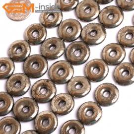 """G15957 16mm Dount Rings Natural Silver Pyrite Stone Beads 15"""" Natural Stone Beads for Jewelry Making Wholesale"""