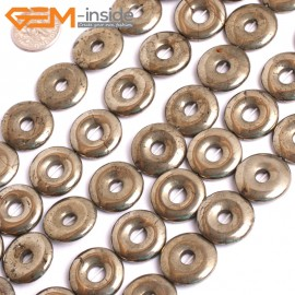 "G15958 18mm Dount Rings Natural Silver Pyrite Stone Beads 15"" Natural Stone Beads for Jewelry Making Wholesale"