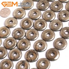 "G15959 20mm Dount Rings Natural Silver Pyrite Stone Beads 15"" Natural Stone Beads for Jewelry Making Wholesale"
