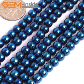 "G15966 6mm Round Blue Metallic Coated Hematite Beads Stone 15"" Stone Beads for Jewelry Making Wholesale"