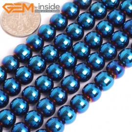 "G15967 8mm Round Blue Metallic Coated Hematite Beads Stone 15"" Stone Beads for Jewelry Making Wholesale"