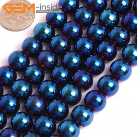 "G15968 10mm Round Blue Metallic Coated Hematite Beads Stone 15"" Stone Beads for Jewelry Making Wholesale"