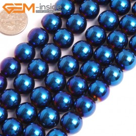 "G15969 12mm Round Blue Metallic Coated Hematite Beads Stone 15"" Stone Beads for Jewelry Making Wholesale"