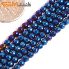 "G15971 3mm Round Blue Metallic Coated Hematite Beads Stone 15"" Stone Beads for Jewelry Making Wholesale"