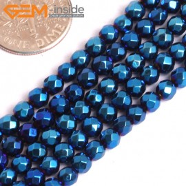"G15972 4mm Round Faceted Blue Metallic Coated Hematite Beads Stone 15"" Stone Beads for Jewelry Making Wholesale"