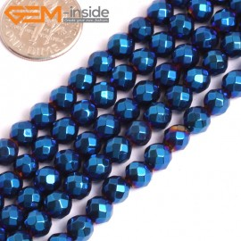 "G15973 6mm Round Faceted Blue Metallic Coated Hematite Beads Stone 15"" Stone Beads for Jewelry Making Wholesale"