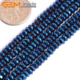 """G15982 2x4mm Rondelle Heart Blue Metallic Coated Hematite Spacer Beads Stone 15"""" Stone Beads for Jewelry Making Wholesale"""