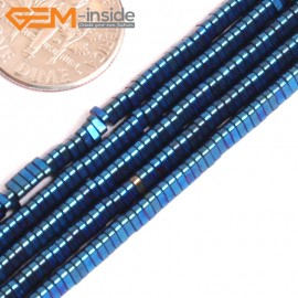 "G15990 3x1mm Triangle Blue Metallic Coated Hematite Beads Stone 15"" Stone Beads for Jewelry Making Wholesale"