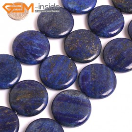 """G16026 30mm Coin Dyed Blue Lapis lazuli Beads 15"""" Stone Beads for Jewelry Making Wholesale"""