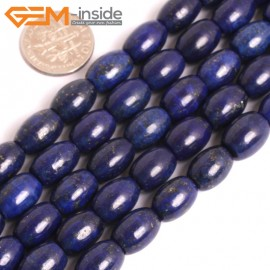 "G16027 8x12mm Column Olivary Dyed Blue Lapis lazuli Beads 15"" Stone Beads for Jewelry Making Wholesale"