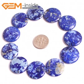 G16040 20mm Coin Natural Blue Lapis lazuli  Gemstone Loose Beads 10 Pcs  Natural Stone Beads for Jewelry Making Wholesale