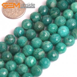 "G16052 8mm Round Faceted Natural Green Russian Amazonite Gemstone Loose Beads 15""  Natural Stone Beads for Jewelry Making Wholesale"