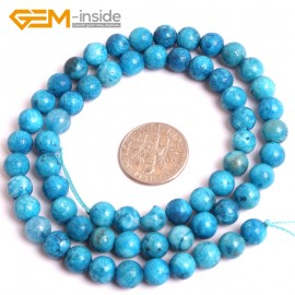 "G16053 6mm Natural Blue Hemimorphite Stone Loose Beads 15""  Natural Stone Beads for Jewelry Making Wholesale"