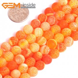 "G16054 8mm Round Frosted Matte Orange Agate Stone Loose Beads 15"" Stone Beads for Jewelry Making Wholesale"