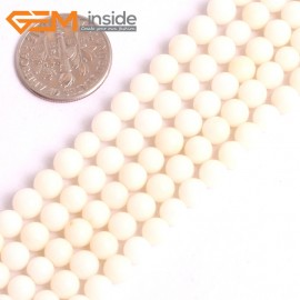 "G16058 5mm Round White Coral Loose Spacer  Beads Gemstone 15"" Natural Stone Beads for Jewelry Making Wholesale"