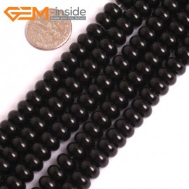 "G16059 5x8mm Rondelle Black Agate Onyx  Beads Gemstone 15"" Natural Stone Beads for Jewelry Making Wholesale"