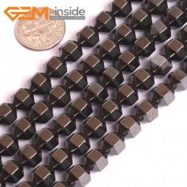 "G16060 8x8mm Bicone Black Hematite Loose Beads Gemstone 15"" Natural Stone Beads for Jewelry Making Wholesale"