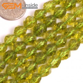 "G16068 8mm Round Faceted Dyed Green Peridot Crystal Loose Beads 15"" Stone Beads for Jewelry Making Wholesale"