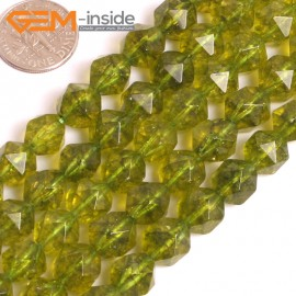"G16069 10mm Round Faceted Dyed Green Peridot Crystal Loose Beads 15"" Stone Beads for Jewelry Making Wholesale"