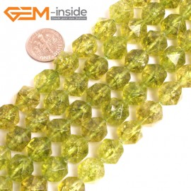 "G16070 12mm Round Faceted Dyed Green Peridot Crystal Loose Beads 15"" Stone Beads for Jewelry Making Wholesale"