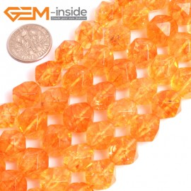 "G16074 12mm Round Faceted Dyed Citrine Crystal Loose Beads 15"" Stone Beads for Jewelry Making Wholesale"