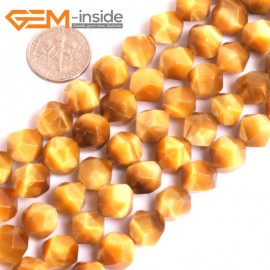 """G16081 10mm Round Faceted Natural Gold Yellow Tiger Eye Loose Beads 15"""" Natural Stone Beads for Jewelry Making Wholesale"""