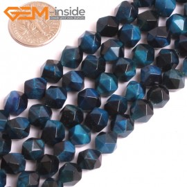 "G16084 8mm Round Natural Faceted Blue Tiger Eye Dyed Color Loose Beads 15"" Stone Beads for Jewelry Making Wholesale"