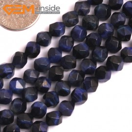 "G16095 6mm Round Faceted Lapis Lazuli Blue Tiger Eye Dyed Color Loose Beads 15"" Stone Beads for Jewelry Making Wholesale"