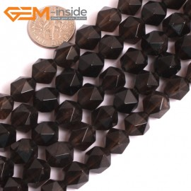 "G16121 10mm Round Faceted Smoky Quartz Crystal Gemstone Loose Beads Strand 15"" Natural Stone Beads for Jewelry Making Wholesale"