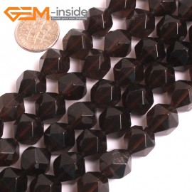 "G16122 12mm Round Faceted Smoky Quartz Crystal Gemstone Loose Beads Strand 15"" Natural Stone Beads for Jewelry Making Wholesale"