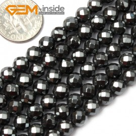 """G1684 6mm Round Faceted Black Hematite Stone Beads Strand 15""""Jewelry Making Loose Beads Natural Stone Beads for Jewelry Making Wholesale"""