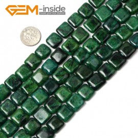 "G1744 12mm Square Gemstone Chrysocolla Stone Beads Strand 15""Jewelry Making Beads Natural Stone Beads for Jewelry Making Wholesale"