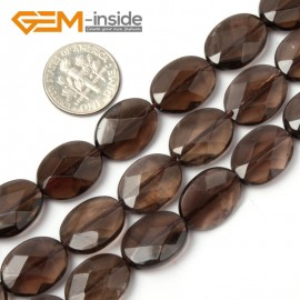 """G1757 12x16mm (Faceted) Oval Drop Gemstone Smooth Faceted Smoky Quartz Jewelry Making Loose Beads 15"""" Natural Stone Beads for Jewelry Making Wholesale"""