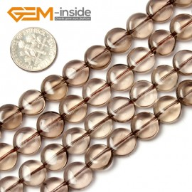 "G1776 10mm (Light) Natural Coin  Smoky Quartz Beads Strand 15""Jewelry Making Gemstone Beads Natural Stone Beads for Jewelry Making Wholesale"