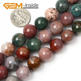 "G1892 12mm Natural Round Mixed Color Ocean Jasper Beads Jewelry Making Loose Beads 15"" Natural Stone Beads for Jewelry Making Wholesale"