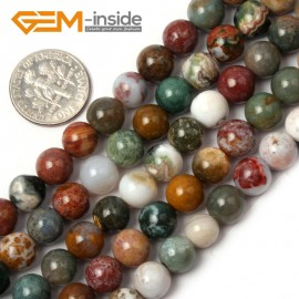 "G1894 8mm Natural Round Mixed Color Ocean Jasper Beads Jewelry Making Loose Beads 15"" Natural Stone Beads for Jewelry Making Wholesale"