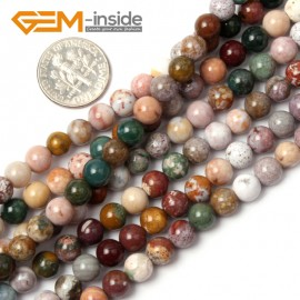 "G1895 6mm Natural Round Mixed Color Ocean Jasper Beads Jewelry Making Loose Beads 15"" Natural Stone Beads for Jewelry Making Wholesale"