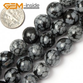 "G1900 12mm Round Gemstone Black Snowflake Obsidian Beads Jewelry Making Stone Beads 15"" Natural Stone Beads for Jewelry Making Wholesale`"