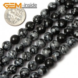 """G1902 8mm Round Gemstone Black Snowflake Obsidian Beads Jewelry Making Stone Beads 15"""" Natural Stone Beads for Jewelry Making Wholesale`"""