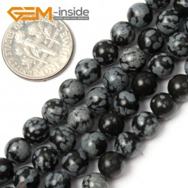 "G1903 6mm Round Gemstone Black Snowflake Obsidian Beads Jewelry Making Stone Beads 15"" Natural Stone Beads for Jewelry Making Wholesale`"