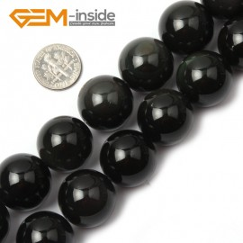 "G1954 20mm Natural Round Black Obsidian Beads Jewelry Making Gemstone Loose Beads 15"" Natural Stone Beads for Jewelry Making Wholesale`"